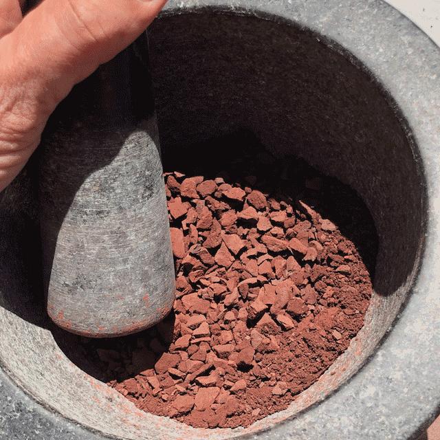 Purple Stone in Mortar
